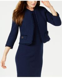 Anne Klein - Fringe-trim Tweed Jacket, Created For Macy's - Lyst