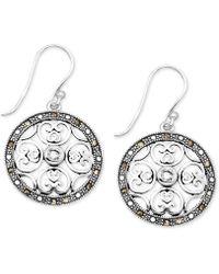 Macy's - Crystal & Marcasite Circle Drop Earrings In Fine Silver-plate - Lyst