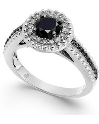 Macy's - Diamond Halo Ring (1 Ct. T.w.) In Sterling Silver - Lyst
