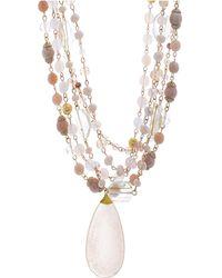 Catherine Malandrino - Pink Rhinestone Yellow Gold-tone Multistrand Chain Necklace - Lyst