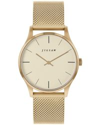 Jigsaw Ladies Watch, Round Gold Stainless Steel Case, Champaign Dial, Stainless Steel Mesh Bracelet - Metallic