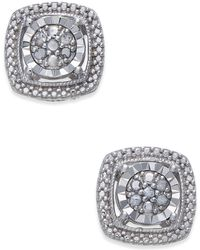 Macy's - Diamond Cluster Miracle Plate Stud Earrings (1/10 Ct. T.w.) In Sterling Silver - Lyst