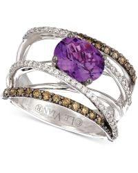 Le Vian - ® Grape Amethysttm (1-3/8 Ct. T.w.) & Diamond (3/4 Ct. T.w.) Crisscross Statement Ring In 14k White Gold - Lyst