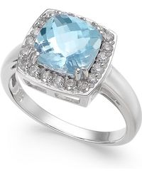 Macy's - Aquamarine (2 Ct. T.w.) & Diamond (1/3 Ct. T.w.) Ring In 14k White Gold - Lyst