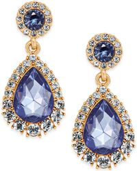 Charter Club - Gold-tone Crystal & Blue Stone Drop Earrings - Lyst