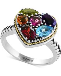 Effy Collection - Multi-gemstone Two-tone Heart Ring (2-1/6 Ct. T.w.) In Sterling Silver & 18k Gold - Lyst