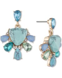 Carolee - Gold-tone Colored Stone Drop Earrings - Lyst