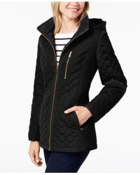 Jones New York - Hooded Quilted Puffer Coat - Lyst