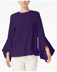Olivia & Grace - Button-back Bell-sleeve Blouse - Lyst