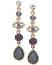 Lonna & Lilly - Gold-tone Crystal & Stone Evil-eye Linear Drop Earrings - Lyst