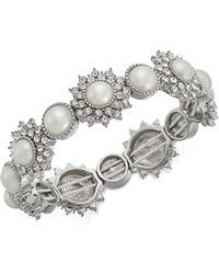 Charter Club - Silver-tone Crystal & Imitation Pearl Stretch Bracelet - Lyst