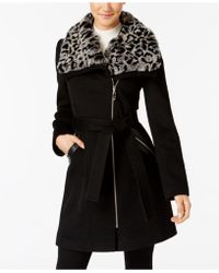 Via Spiga - Faux-fur-collar Asymmetrical Belted Coat - Lyst