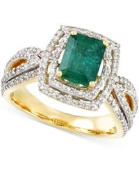 Rare Featuring Gemfields - Certified Emerald (1-1/5 Ct. T.w.) And Diamond (2/3 Ct. T.w.) Ring In 14k Gold - Lyst