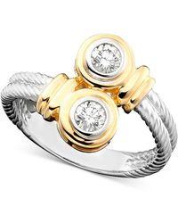 Macy's - 14k Two-tone Gold Diamond Twist Ring (1/3 Ct. T.w.) - Lyst