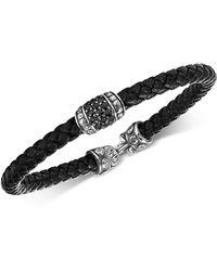 Scott Kay   Men's Black Sapphire Woven Leather Bracelet (1-1/3 Ct. T.w.) In Sterling Silver   Lyst