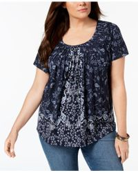 Style & Co. - Plus Size Print Pleated-neck Top, Created For Macy's - Lyst