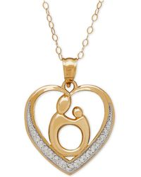Macy's - Two-tone Mother-themed Heart Pendant Necklace In 10k Gold - Lyst
