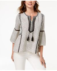 Style & Co. - Petite Printed Peasant Top, Created For Macy's - Lyst