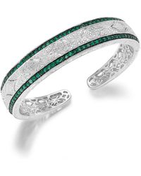 Macy's - Emerald (1-1/3 Ct. T.w.) And Diamond Accent Cuff Bracelet In Sterling Silver - Lyst