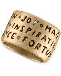 RACHEL Rachel Roy | Gold-tone Etched Inspirational Ring | Lyst