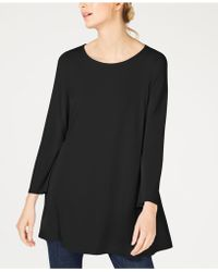Eileen Fisher - Scoop-neck Wide-sleeve Stretch Jersey Tunic, Regular & Petite - Lyst