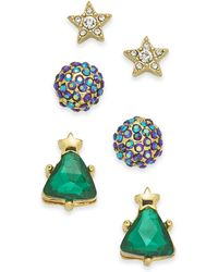 Charter Club - Gold-tone 3-pc. Set Crystal Star, Ball & Tree Stud Earrings, Created For Macy's - Lyst
