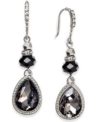 INC International Concepts - Silver-tone Jet Teardrop Earrings - Lyst