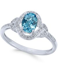 Macy's - Blue Topaz (9/10 Ct. T.w.) & Diamond (1/8 Ct. T.w.) Ring In 14k White Gold - Lyst