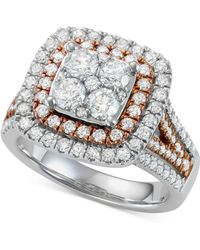 Macy's - Diamond Two-tone Halo Cluster Engagement Ring (2 Ct. T.w.) In 14k White & Rose Gold - Lyst