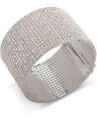Anne Klein - Silver-tone Crystal Wide Cuff Bracelet - Lyst