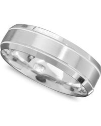 Macy's - Men's 14k White Gold Ring, Engraved 6mm Band (size 6-13) - Lyst