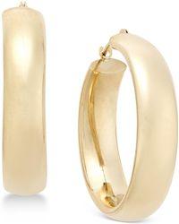 Macy's - Wide Polished Hoop Earrings In 10k Gold - Lyst