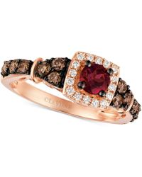 Le Vian - Chocolatier® Raspberry Rhodolite® Garnet (3/8 Ct. T.w.) And Diamond (5/8 Ct. T.w.) Ring In 14k Rose Gold - Lyst