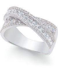 Arabella - Swarovski Zirconia Crisscross Statement Ring In Sterling Silver - Lyst