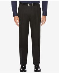 Perry Ellis - Portfolio Classic/regular Fit Elastic Waist Double Pleated Cuffed Dress Trousers - Lyst