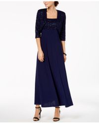 R & M Richards - Empire-waist Gown & Sequined Lace Jacket - Lyst