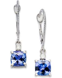 Macy's - 14k White Gold Earrings, Tanzanite (2-1/5 Ct. T.w.) And Diamond Accent Cushion Earrings - Lyst