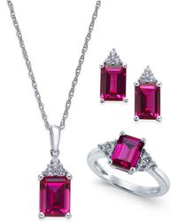 Macy's - Lab-created Ruby (5 Ct. T.w.) And White Sapphire (3/8 Ct. T.w.) Jewelry Set In Sterling Silver - Lyst