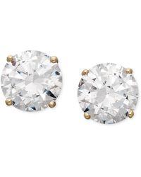 Arabella - 14k Gold Earrings, Swarovski Zirconia Round Stud Earrings (6-5/8 Ct. T.w.) - Lyst