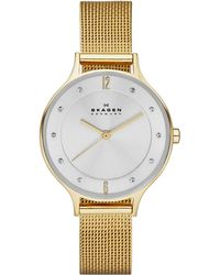 Skagen - Women's Anita Gold-tone Stainless Steel Mesh Bracelet Watch 30mm Skw2150 - Lyst