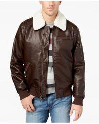 Members Only - Fleece-collar Bomber Jacket - Lyst