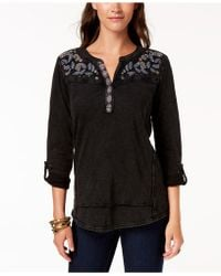 Style & Co. - Embroidered Cotton Roll-tab-sleeve Top, Created For Macy's - Lyst