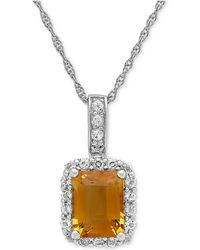 Macy's - Citrine (2-1/6 Ct. T.w.) & White Topaz (5/8 Ct. T.w.) Pendant Necklace In Sterling Silver - Lyst