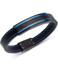 Macy's - Two-tone Black Leather Bracelet In Matte Black & Blue Ion-plated Stainless Steel - Lyst