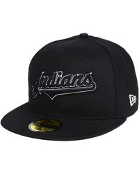 KTZ - Cleveland Indians Black And White Fashion 59fifty Fitted Cap - Lyst