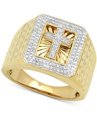 Macy's - Diamond Cross Ring (1/10 Ct. T.w.) In 10k Gold-plated Sterling Silver - Lyst