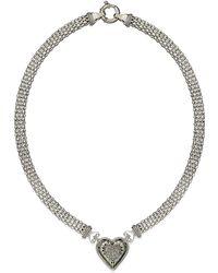 Macy's | Diamond Mesh Heart Necklace In Sterling Silver (1/4 Ct. T.w.) | Lyst