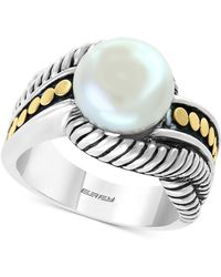 Effy Collection - Effy® Cultured Freshwater Pearl (10mm) Ring In Sterling Silver & 18k Gold - Lyst