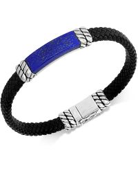 Effy Collection - Lapis Lazuli Leather Braided Bracelet In Sterling Silver (also In Malachite Or Onyx) - Lyst