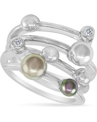 Majorica - Endless Pearl Ring, Sterling Silver Multicolor Organic Man Made Pearl Ring - Lyst